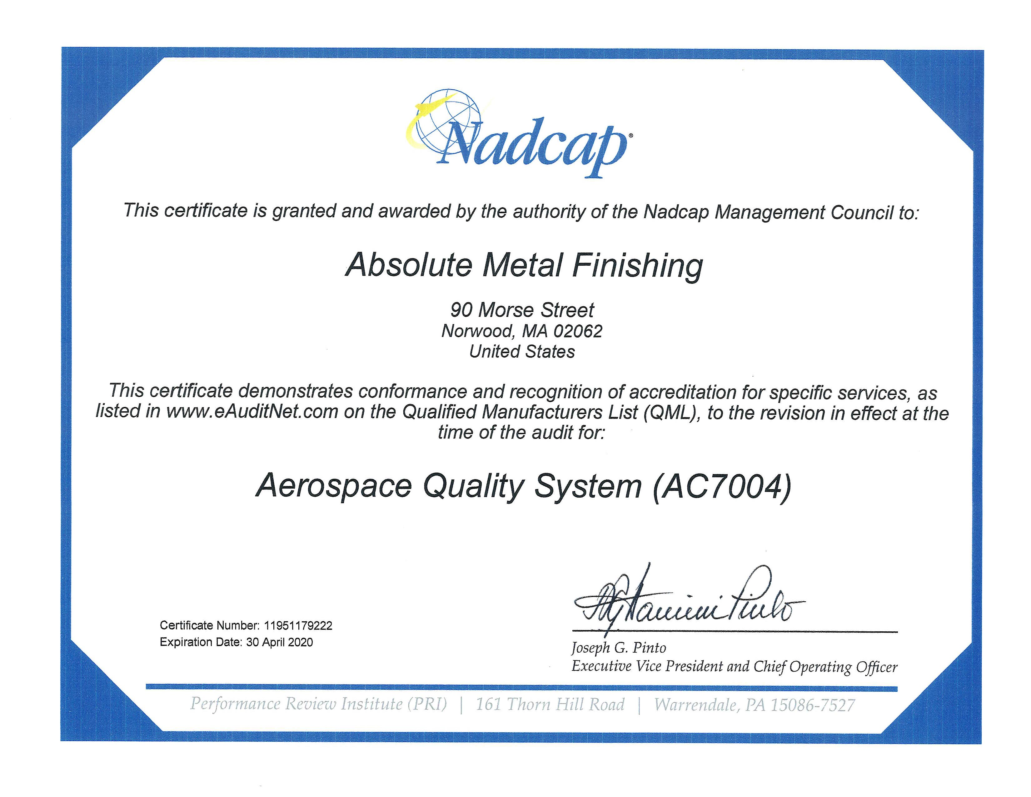 Isonadcap Scope And Certificates Absolute Metal Finishing